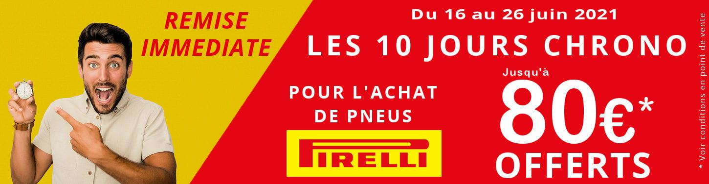 Jusqu'à 100€ offerts pour l'achat de pneus Pirelli